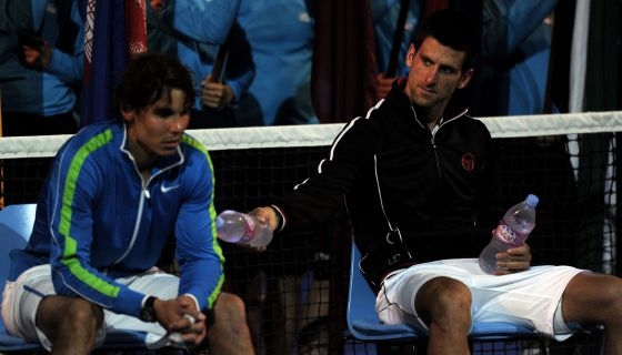 Nadal and Djokovic await the trophy ceremony after the Australian Open final in January.