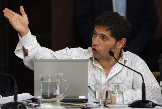 Axel Kicillof, deputy economy minister and controller of YPF gas and oil company, speaks at the Argentine Senate in Buenos Aires April 17.