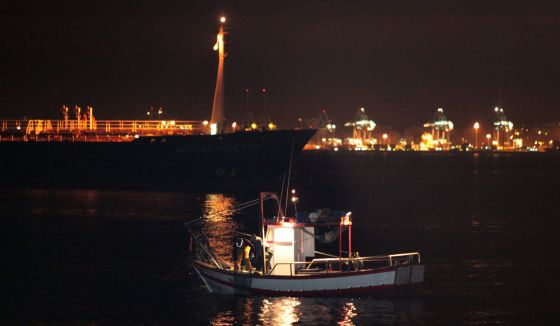 A Spanish fishing vessel in La Línea de la Concepción's harbour this week.