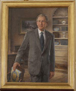 El retrato de Bush, que ya cuelga en la Casa Blanca.