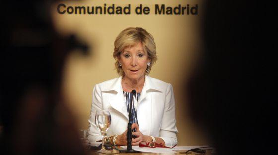 Esperanza Aguirre during Thursday's press conference.