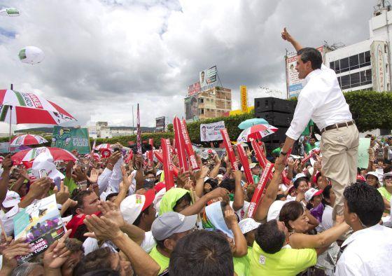 Enrique Peña Nieto seen at a campaign rally last Saturday in Tuxtla, Gutiérrez state.rn