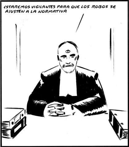 'Estaremos vigilantes para que los robos se adapten a la normativa'. EL Roto, El País, 10/7/2012