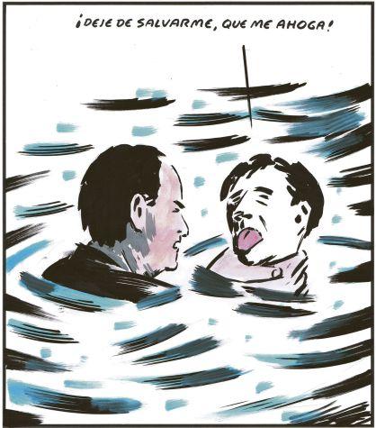 El Roto: '¡Deje de salvarme, que me ahoga!', El País, 20/7/2012