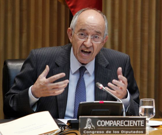Former Bank of Spain governor Miguel Ángel Fernández Ordóñez in Congress on Tuesday.