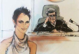 Dibujo de Halle Berry durante el juicio para trasladar a su hija a Francia.