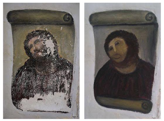 La imagen de la dramática restauración del 'Ecce Homo' de una iglesia de Borja (Zaragoza) por parte de una vecina del pueblo ha acaparado la atención en las redes sociales.