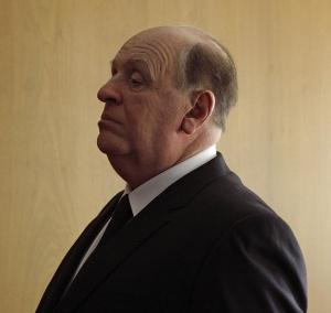 Anthony Hopkins transmutado en el mítico cineasta para la película 'Hitchcock'.
