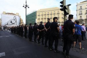 Protestas de piquetes en la Puerta del Sol de Madrid.