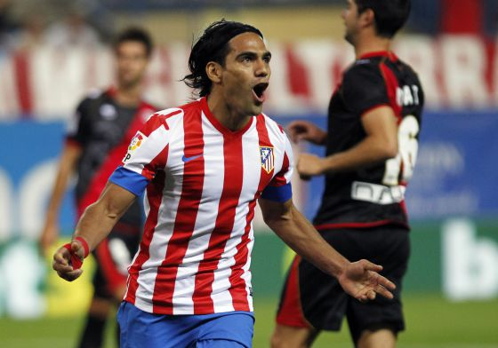 Atlético Madrid's Ramadel Falcao celebrates his winning goal against Rayo Vallecano.