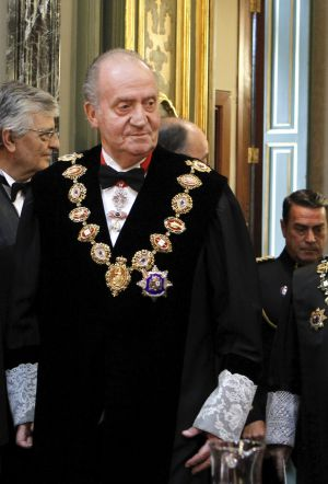 Spain's King Juan Carlos takes part in a ceremony at the Supreme Court in Madrid on Tuesday.