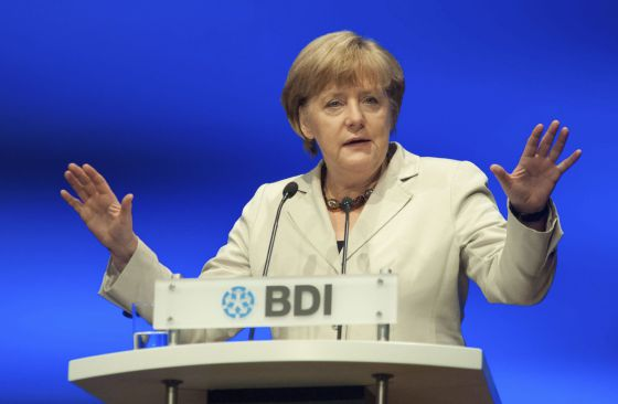 German Chancellor Angela Merkel speaking on Tuesday.