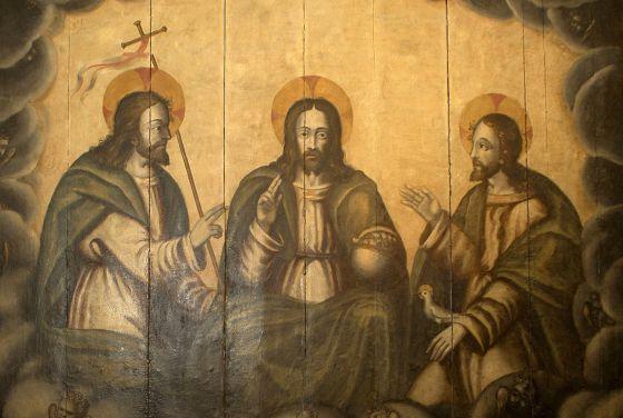 The restored 15th-century Holy Trinity altarpiece.