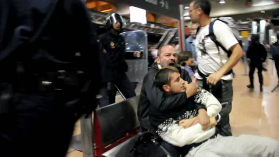 A still from the video of police entering Atocha.