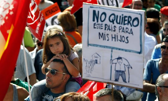 Protestors at Sunday's march in Madrid.