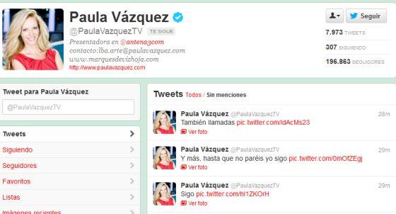 Perfil de Twitter de Paula Vázquez