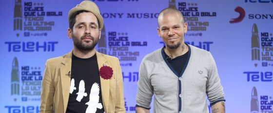 Los integrantes de Calle 13, en la presentación del vídeo.
