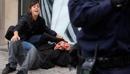 Grevista ferido em Valência