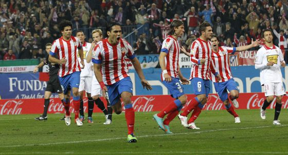 Radamel Falcao celebrates after opening the scoring on Sunday night.