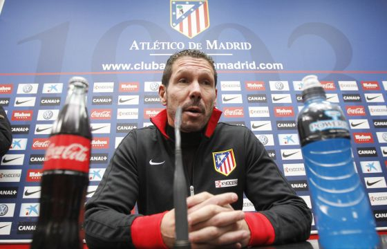 Atlético Madrid coach Diego Simeone talking to the press on Friday.
