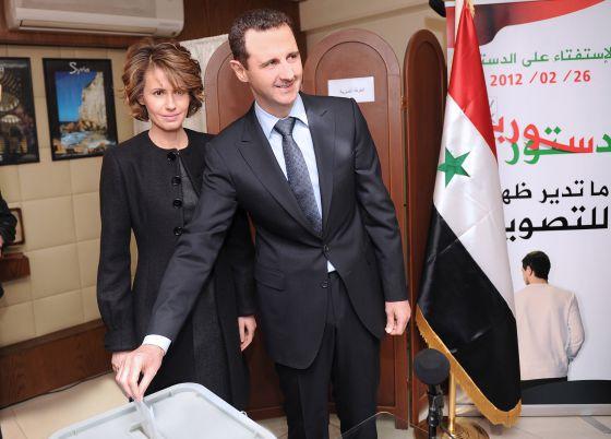 Bachar el Asad con su esposa Asma.