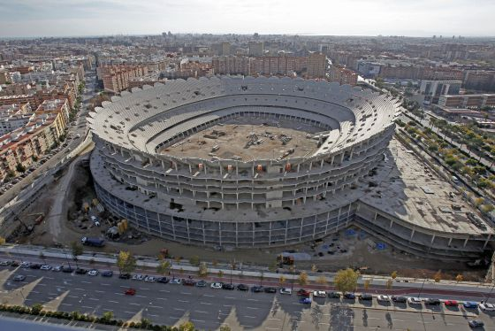 The half-built Nuevo Mestalla stadium in Valencia.