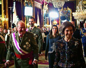 La familia real en el Palacio Real durante la celebración de la Pascua Militar, el pasado 6 de enero.