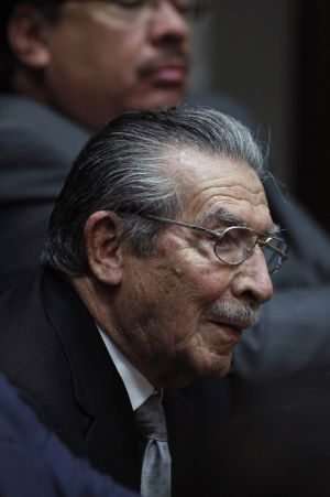 Ríos Montt sits in court on Tuesday.