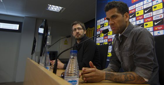 Dani Alves speaks at Thursday's press conference.
