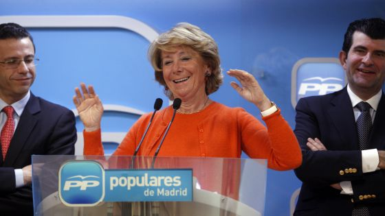 Esperanza Aguirre during her appearance at a closed-door meeting of the Madrid PP on Wednesday.