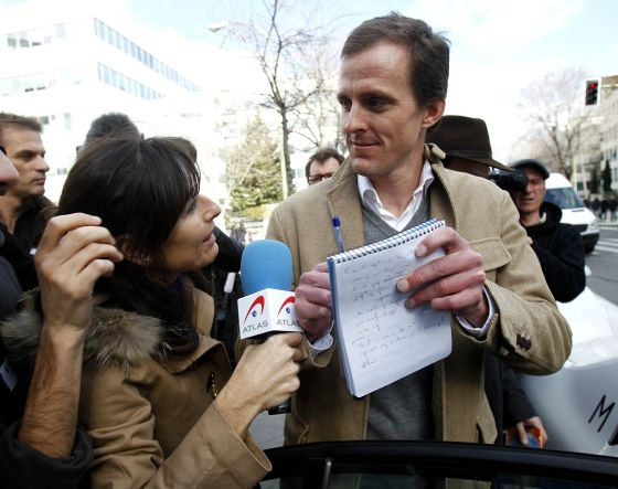 Cyclist Jorg Jaksche leaves court in Madrid on Monday.
