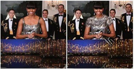 Michelle Obama, durante la entrega de los Oscar, y a la derecha su imagen modificada.