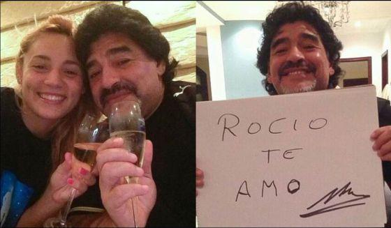 Maradona con su nueva novia, Rocío Oliva, de 22 años.