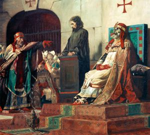 Pintura 'El papa Formoso y Esteban VI', de P. Laurens.