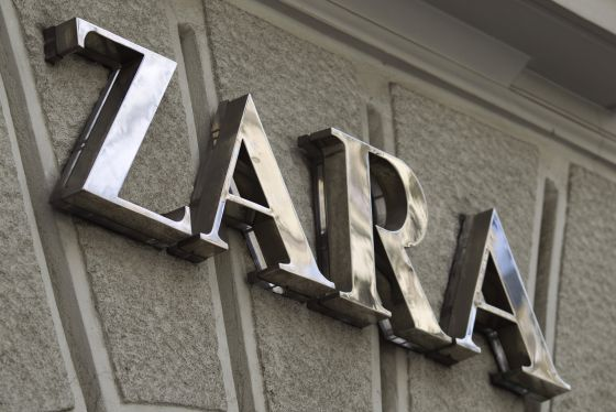 A logo on display outside a Zara fashion store, operated by Inditex SA, in Madrid.