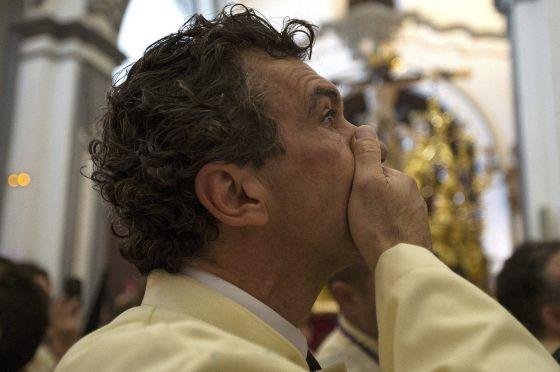 Antonio Banderas, durante la procesión del domingo en Málaga.