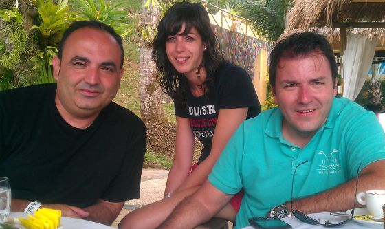 Antonio Rivera (l), an engineer from Granada, with some colleagues in Brazil.