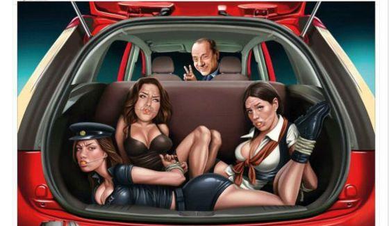 Polémica por un anuncio de Ford con Berlusconi y mujeres amordazadas