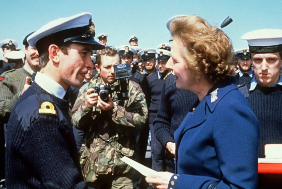 British Prime Minister Margaret Thatcher meeting personnel aboard the ship HMS Antrim during a 1983 visit to the Falkand Islands.