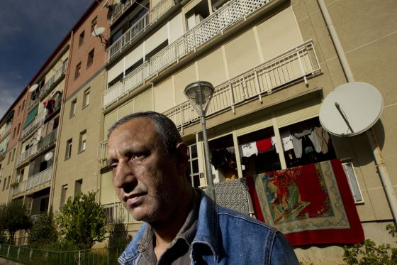 Mohamed Aziz pictured in front of his present home in Martorell.