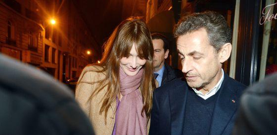 Carla Bruni y Nicolas Sarkozy, en el 57º cumpleaños del expresidente, en enero.