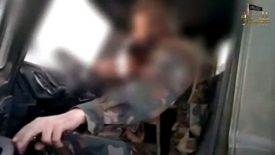 A capture from the jihadist video in which Rachid Wahbi is seen getting into a truck.