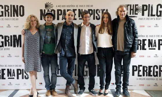 Some of the cast and crew from the movie, pictured in Galicia.