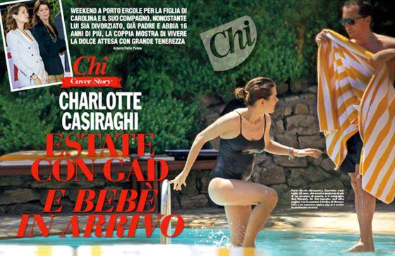 Carlota Casiraghi, embarazada y en bañador, junto a su novio.