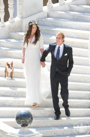 Andrea Casiraghi y Tatiana Santo Domingo durante su boda.