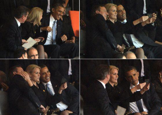 El momento del 'selfie' de los tres mandatarios en el homenaje a Mandela.