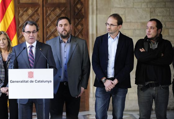 From left to right: Artur Mas (CiU), Oriol Junqueras (ERC), Joan Herrera (ICV) and David Fernández (CUP) during Thursday's press conference.