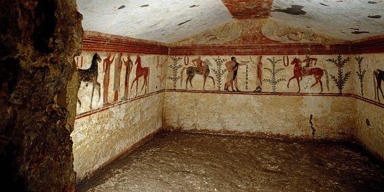 Interior de una tumba en la necrópolis de Monterozzi.