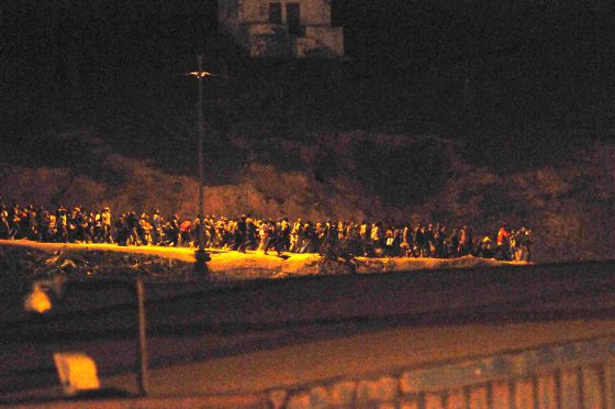 Immigrants filing toward the Ceuta border early on Tuesday.