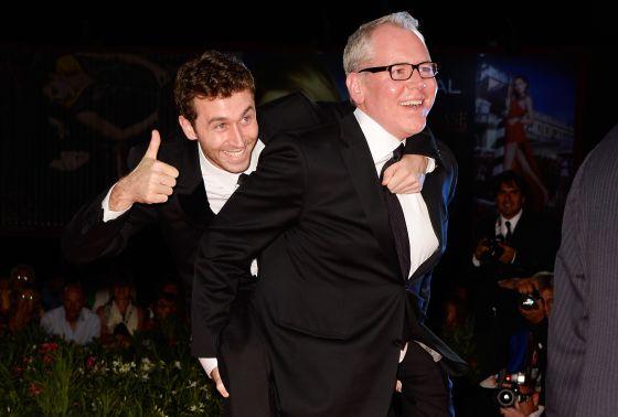 Easton Ellis, a la izquierda, con el ex actor porno James Deen